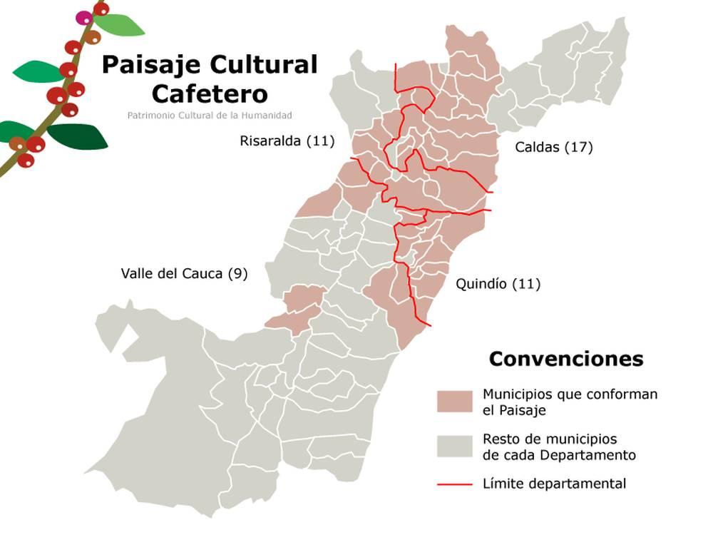 Mapa de las áreas que componen el Paisaje Cultural Cafetero de Colombia