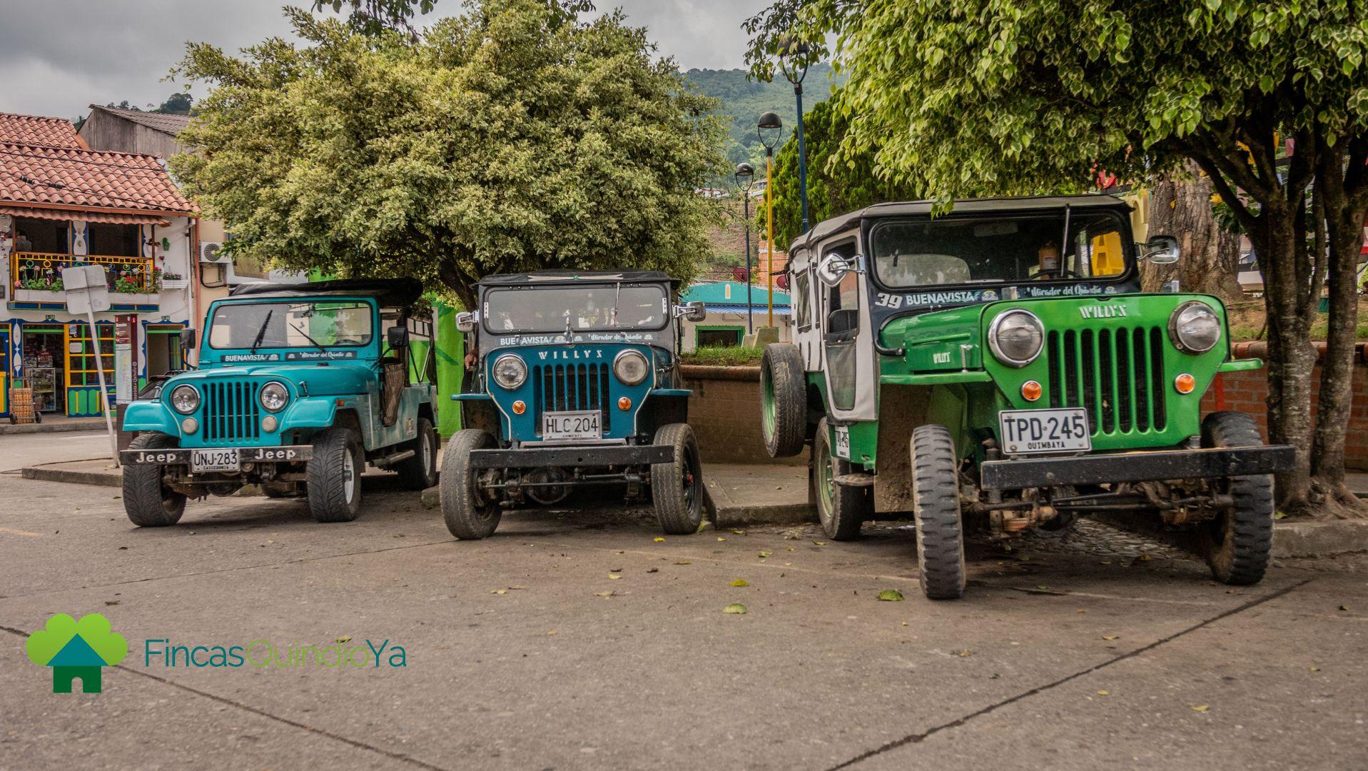 Jeeps de colores para abordar